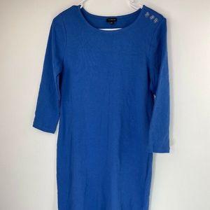 Talbots 3/4 Sleeve T-shirt Dress Solid Blue Size M